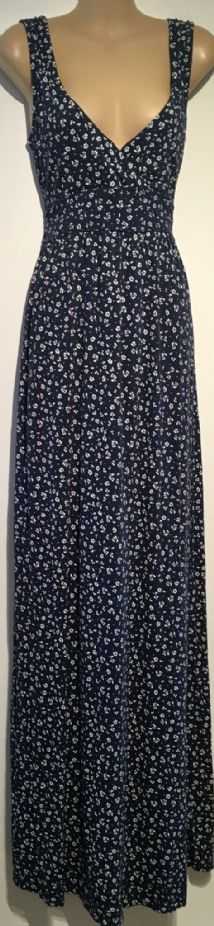 FAT FACE NAVY/WHITE FLORAL LONG MAXI DRESS SIZE UK 10